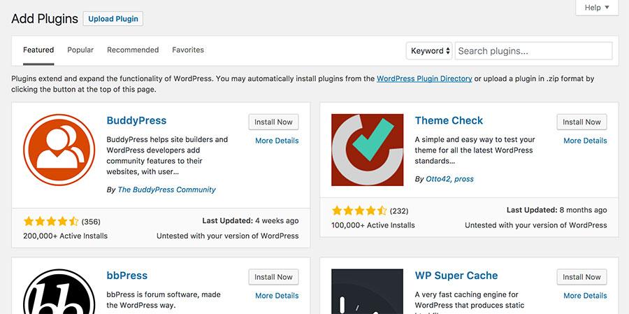 cài đặt WordPress plugin