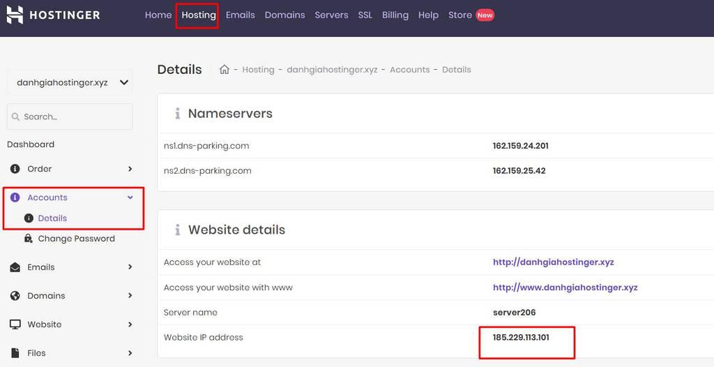 địa chỉ IP address của hosting hostinger