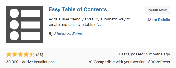 easy table of contents plugin WordPress