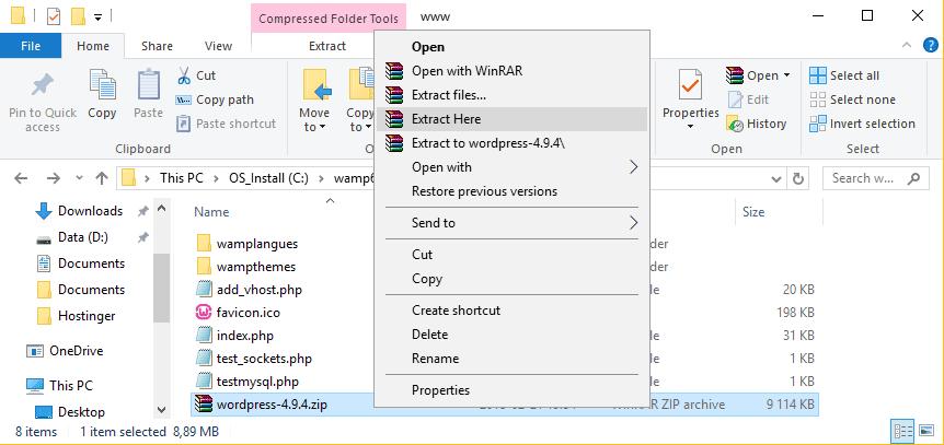 giải nén bộ cài wordpress vào wamp root