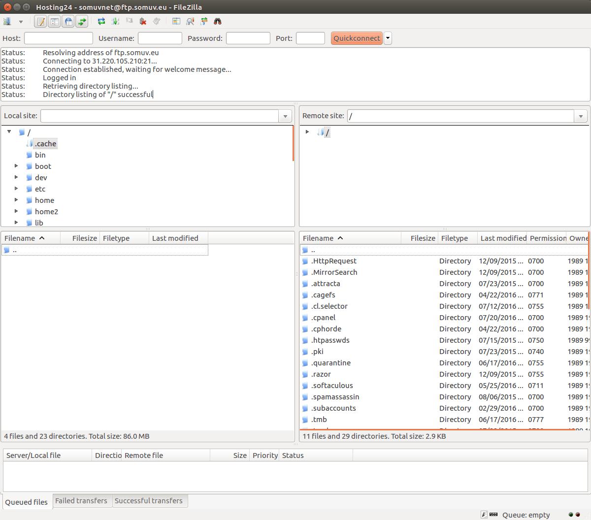 kết nối FTP thành công - danh sách file trong ftp server