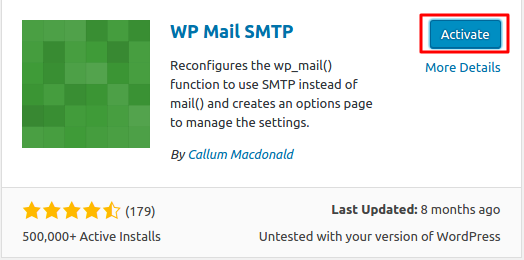 kích hoạt plugin wp mail