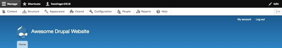 màn hình chính quản lý drupal