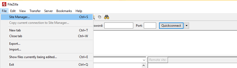 site manager trong filezilla