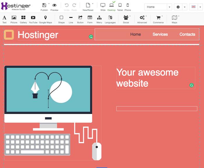 tạo website bằng website builder của Hostinger