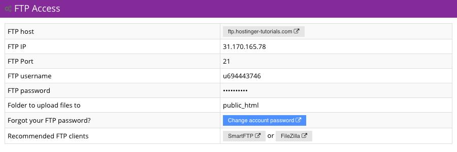 Thông tin FTP Hostinger