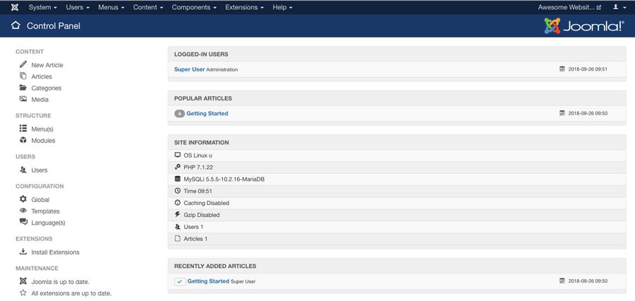 trang quản trị joomla dashboard