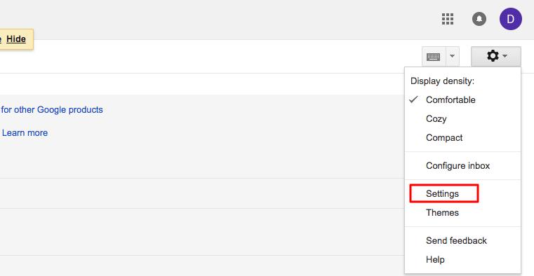 Trang cài đặt Gmail