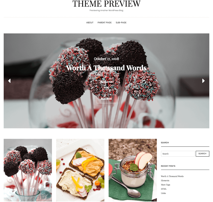 ví dụ theme wordpress food