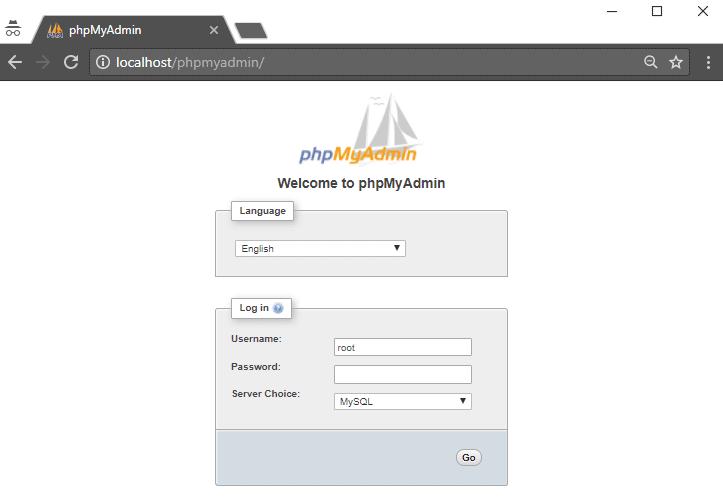 wampserver phpmyadmin màn hình đăng nhập