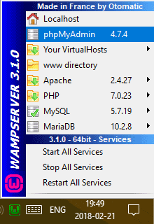 wampserver toolbar