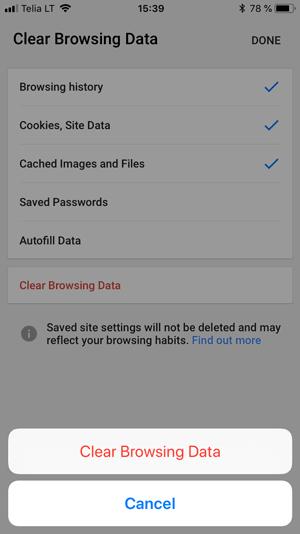 xóa cache trên google chrome iphone