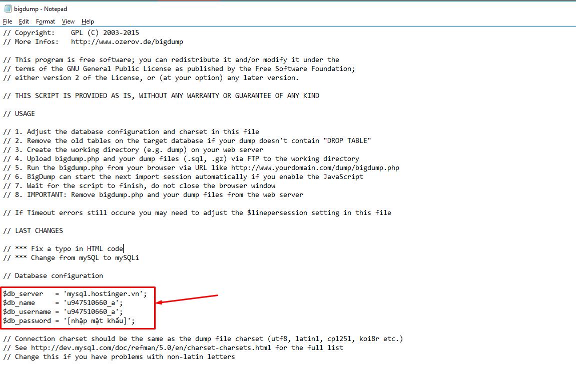Làm thế nào để import database mysql bằng big dump