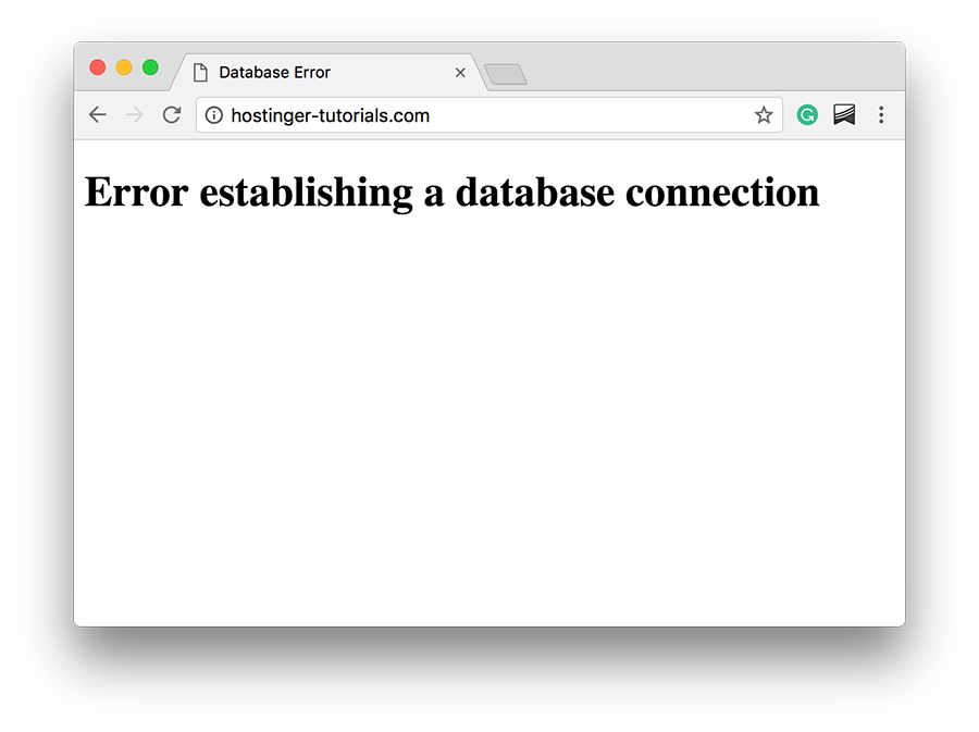 Ví dụ lỗi Error establishing a database connection
