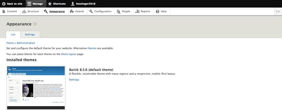 phần giao diện của theme drupal blog