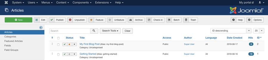 tạo bài viết đầu tiên trong joomla dashboard