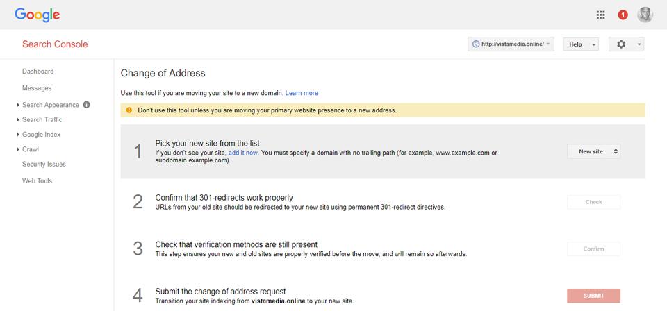 Google Webmaster tools đổi địa chỉ tên miền WordPress