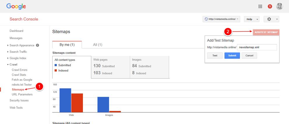 Google Webmasters Tools màn hình sitemap