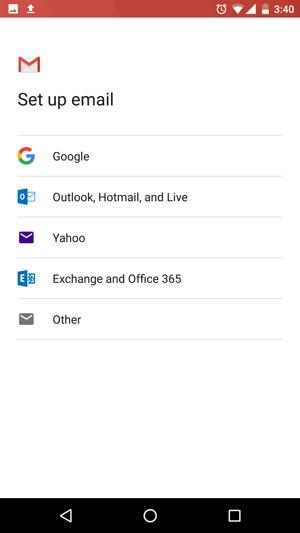 Chọn tài khoản email lựa chọn là khác