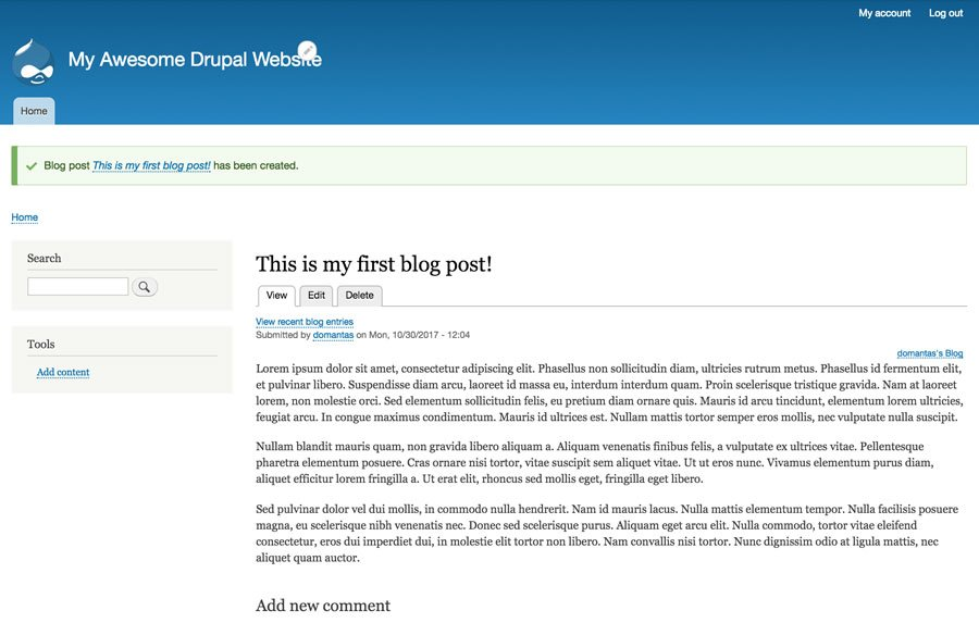 Xuất bản drupal blog post