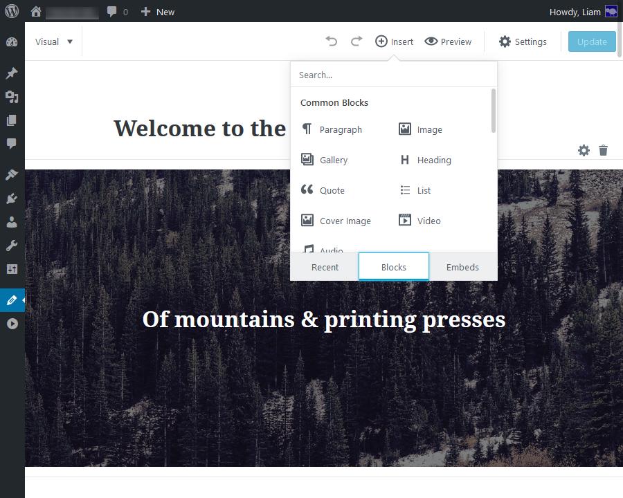 Editor thêm block mới cho Hostinger