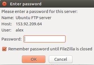 điền mật khẩu FTP user để kết nối qua Filezilla
