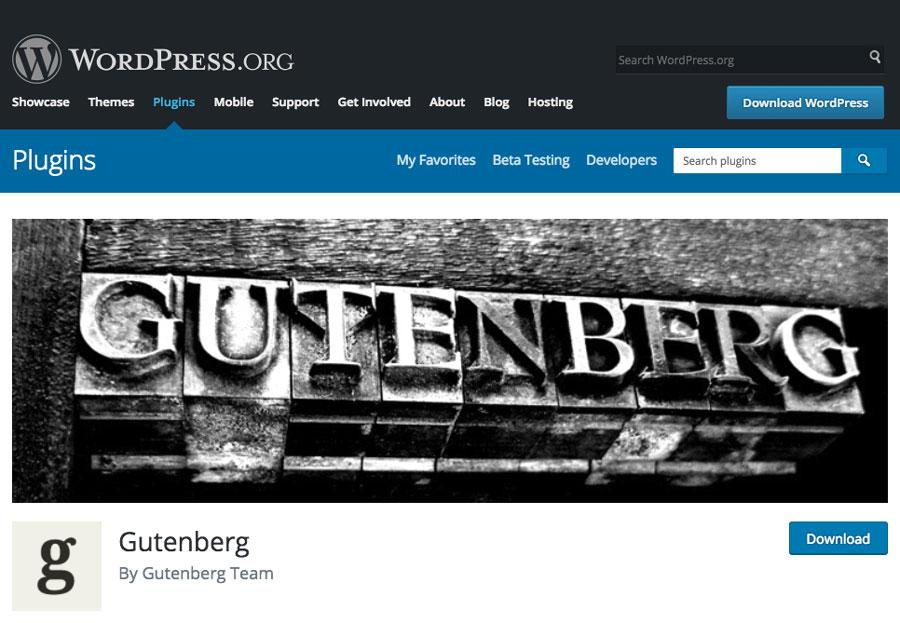 Tải gutenberg từ WordPress Plugin Directory