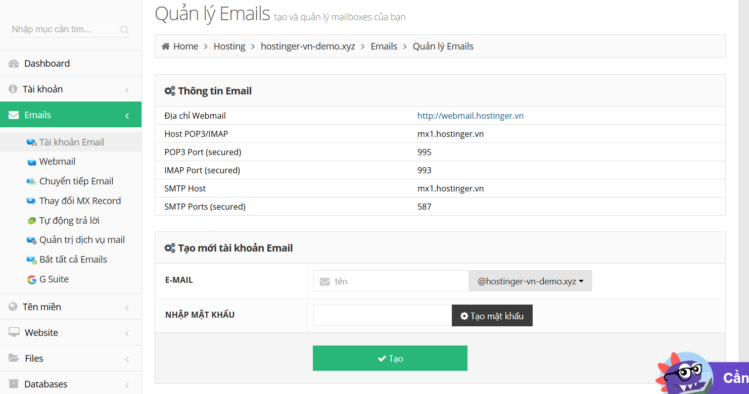 Thiết lập email, tạo email trên hostinger