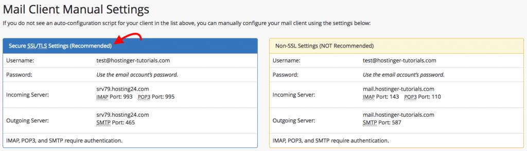 Thông tin mail client cpanel