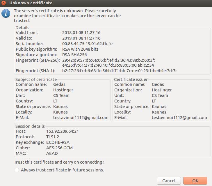 xác thực ftp server certificate