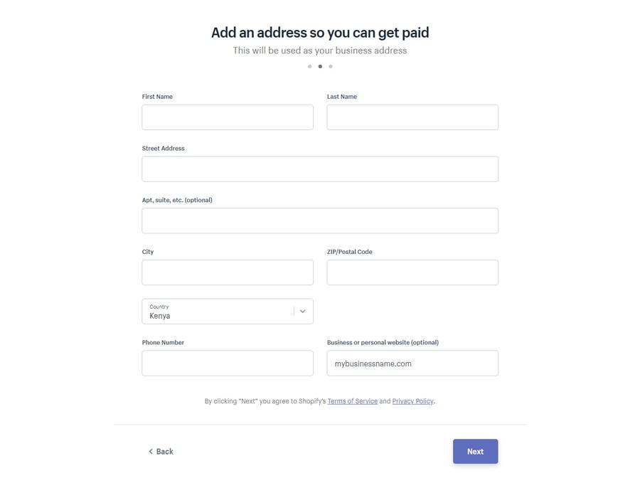 thêm địa chỉ kinh doanh shopify
