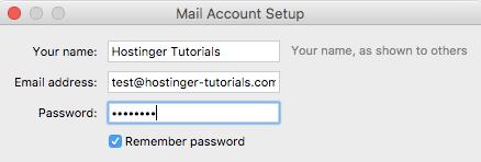 Điền thông tin email trên thunderbird