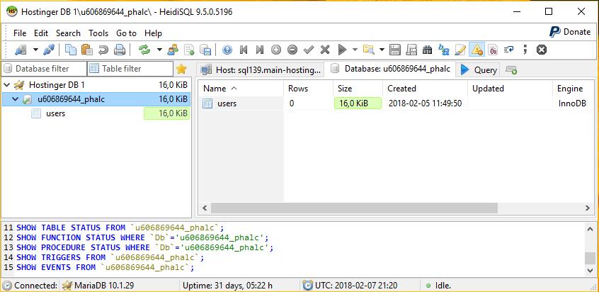 kết nối database bằng heidsql thành công