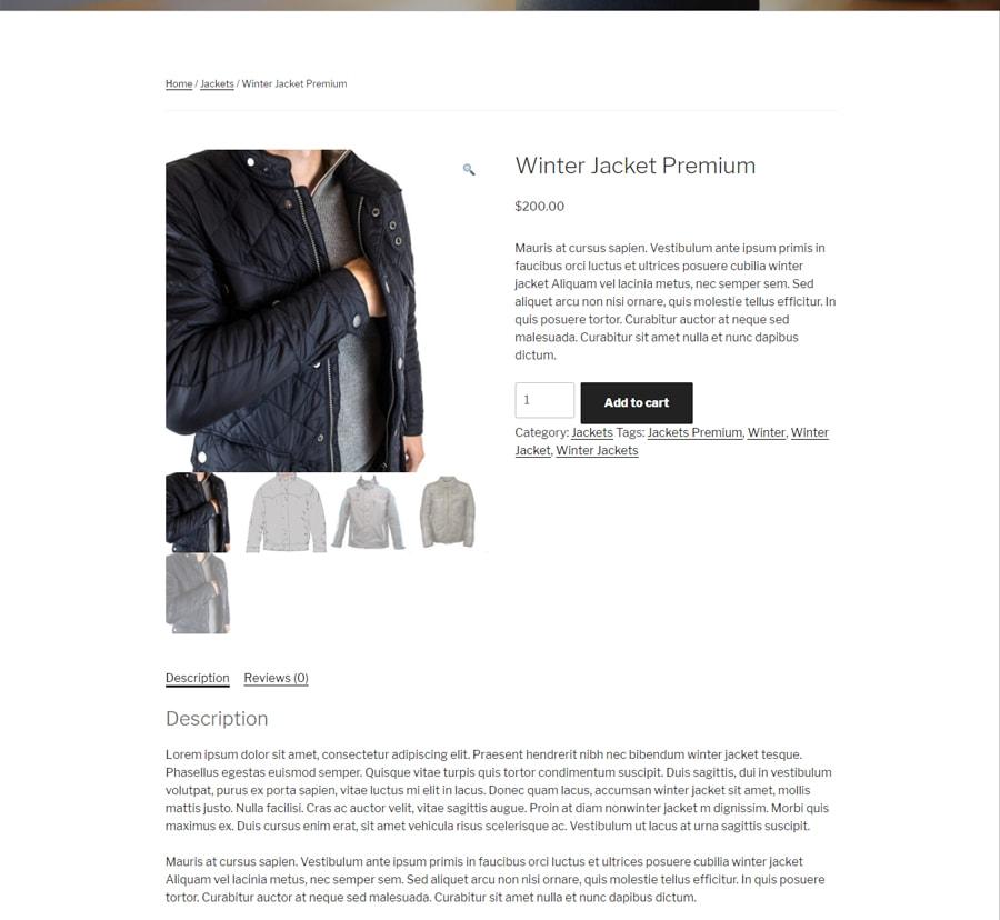 một trang mẫu của website thương mại điện tử woocommerce