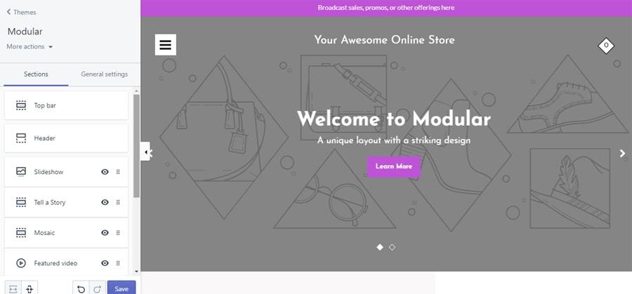 Tạo website thương mại điện tử tùy chỉnh theme trên shopify