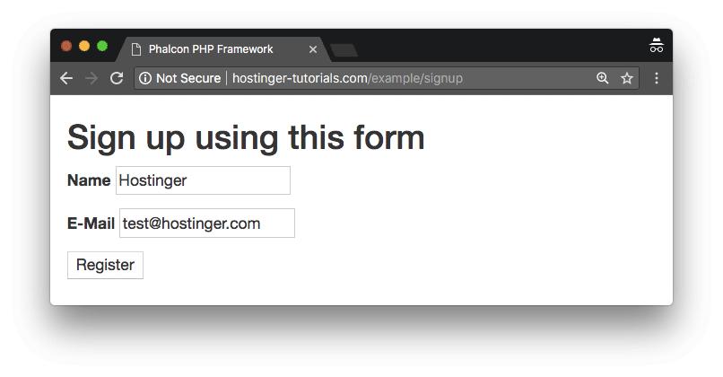 trang ví dụ sign up phalcon framework