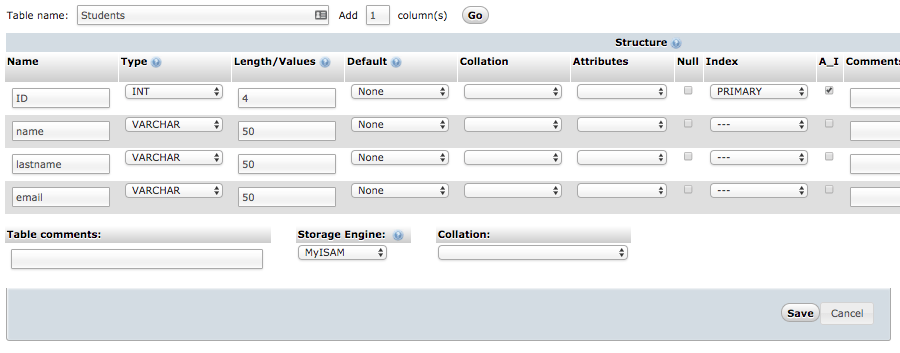 tạo bảng trong phpmyadmin mysql database