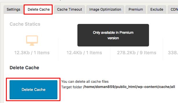 wp fastest cache nút xóa cache