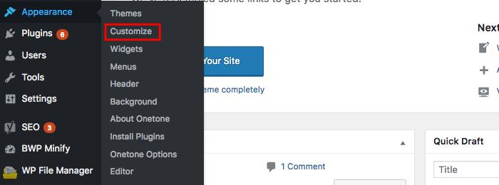 chỉnh sửa giao diện trong WordPress