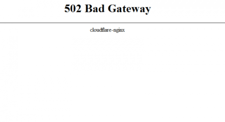 Cloudflare 502 bad gateway