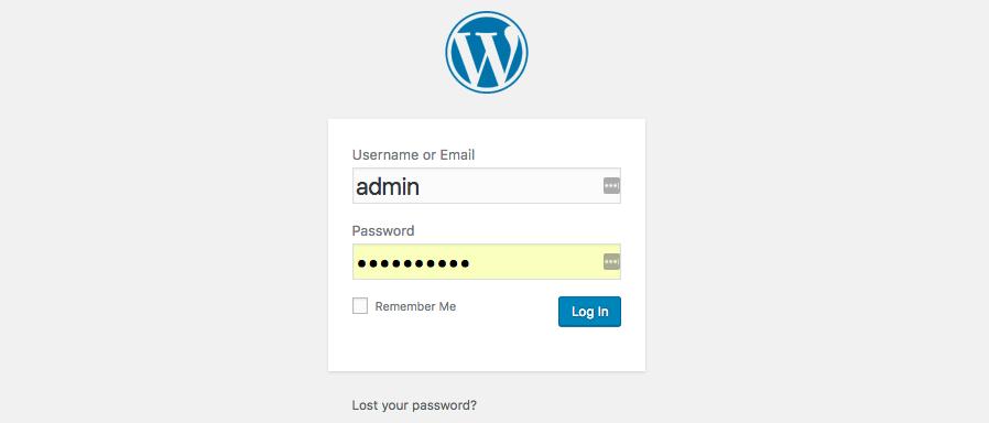 Đăng nhập vào WordPress admin area
