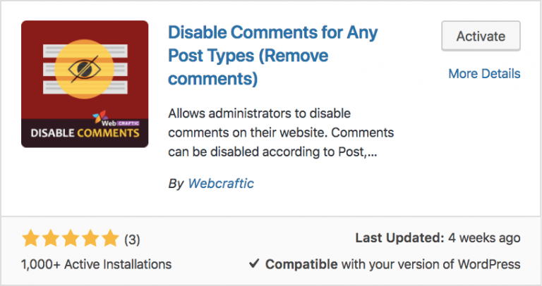Disable comments for any post plugin trong WordPress
