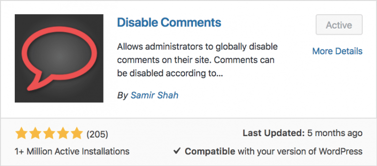 disable comments plugin trong WordPres