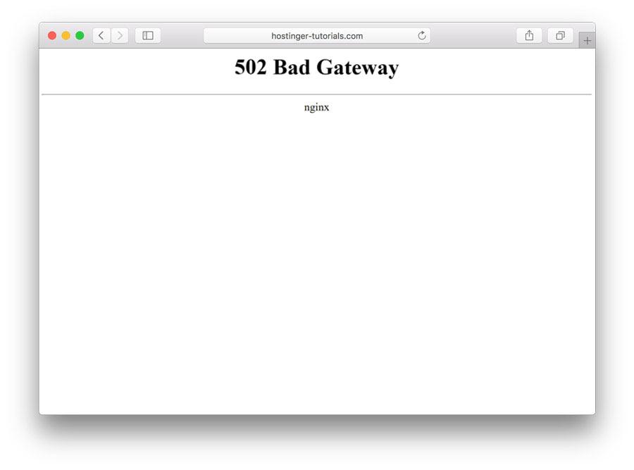 Lỗi 502 bad gateway error