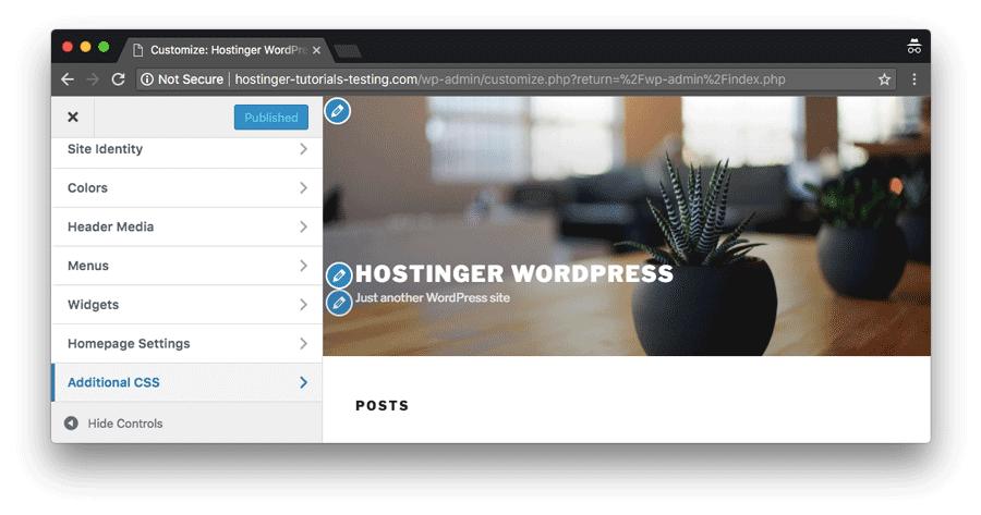 mục css trong WordPress theme editor