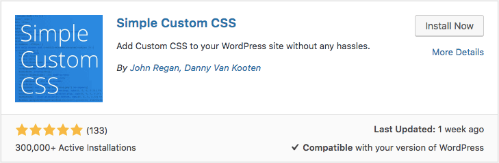 Simple Custom CSS WordPress