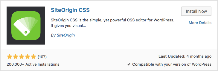 Site origin css custom WordPress