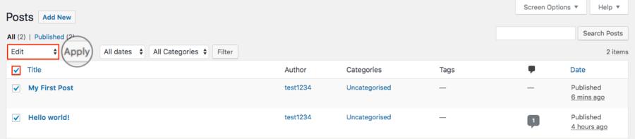 sửa nhiều bài viết cùng lúc trong WordPress