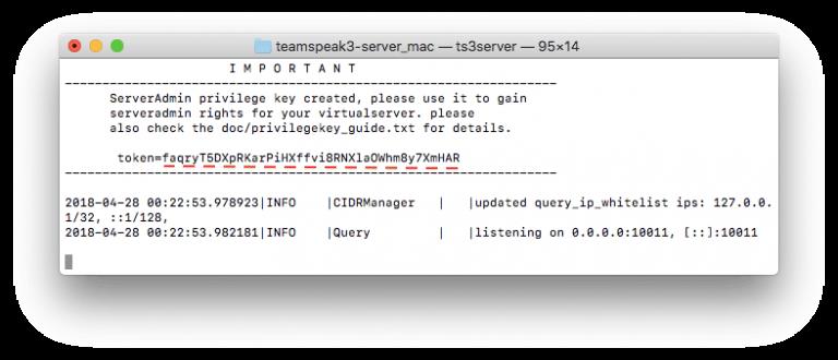 ts3 server token trên máy mac