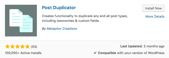 WordPress plugin post duplicator